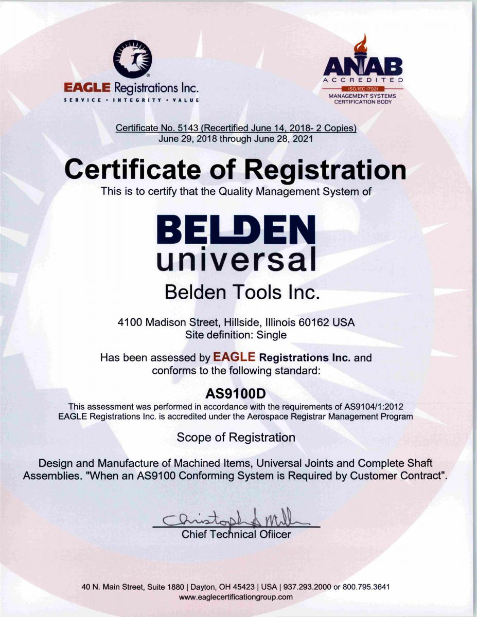 As Certification Belden Universal Joints