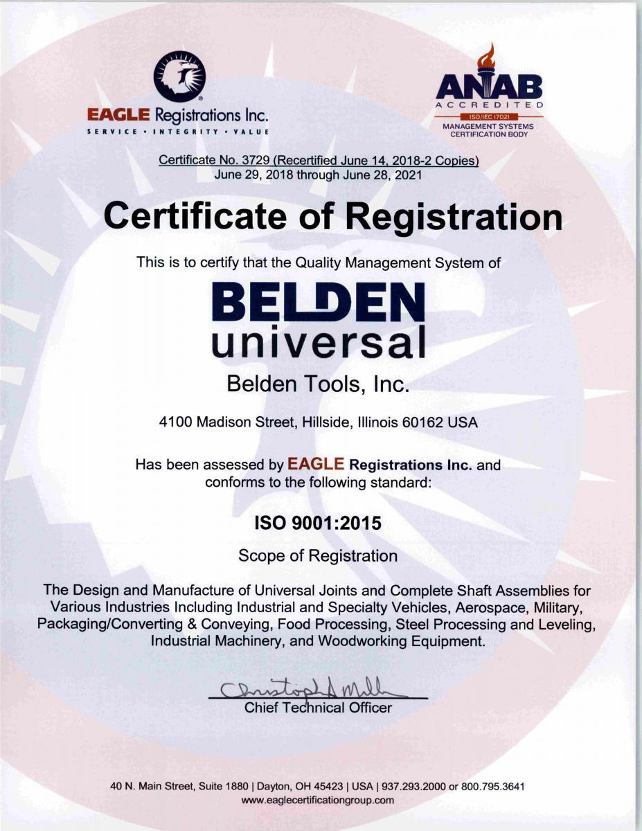 Iso Certification Belden Universal Joints