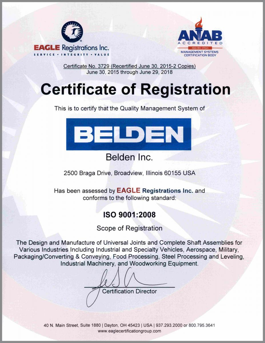Iso certification belden universal joints iso certification 1betcityfo Choice Image